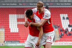 Joe Newell of Rotherham United and Michael Smith of Rotherham United celebrate Rotherham United's second goal against Fleetwood Town - Mandatory by-line: Ryan Crockett/JMP - 07/04/2018 - FOOTBALL - Aesseal New York Stadium - Rotherham, England - Rotherham United v Fleetwood Town - Sky Bet League One