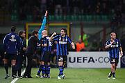 """Foto: Jonathan Moscrop - LaPresse<br /> 05 04 2011 Milano ( Italia )<br /> Sport Calcio<br /> FC Inter vs FC Shalke 04 - UEFA Champions League 2010-2011 Quarti di finale andata - Stadio Giuseppe Meazza """"San Siro"""" di Milano<br /> Nella foto: esultanza dell'Inter dopo la rete del 2-1 di Diego Milito<br /> <br /> Photo: Jonathan Moscrop - LaPresse<br /> 05 04 2011 Milan ( Italy )<br /> Sport Soccer<br /> FC Internazionale Milano versus FC Shalke 04 - UEFA Champions League 2010-2011 Quarter final 1st leg - Giuseppe Meazza """"San Siro"""" Stadium Milan<br /> In the Photo: FC Internazionale players celebrate after Diego Milito's goal gave the side a 2-1 lead"""