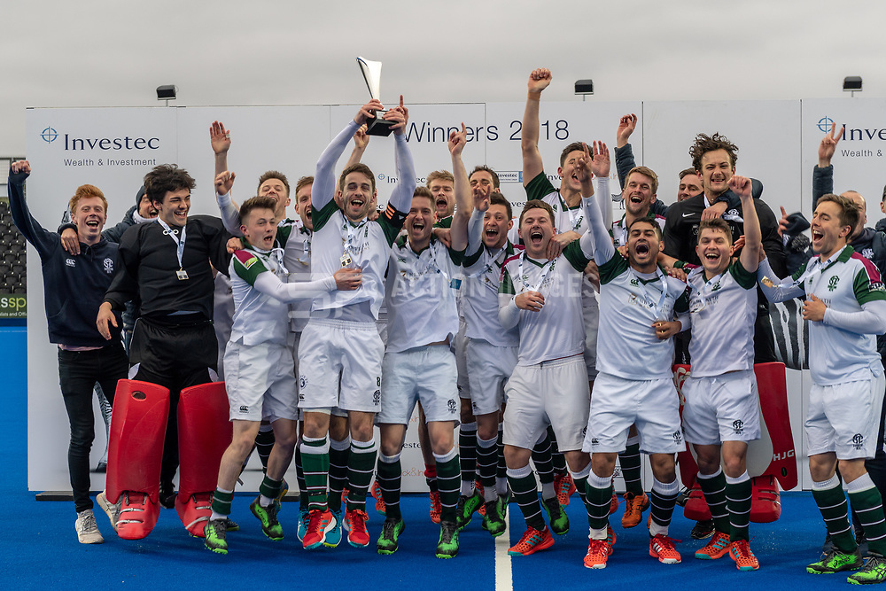 Surbiton. Hampstead & Westminster v Surbiton - Men's Hockey League Final, Lee Valley Hockey & Tennis Centre, London, UK on 29 April 2018. Photo: Simon Parker