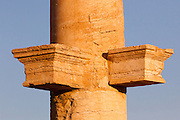 Platform on the column of the Great Colonnade designed to hold the statue of a Palmyrene donor, Palmyra, Syria. Ancient city in the desert that fell into disuse after the 16th century.