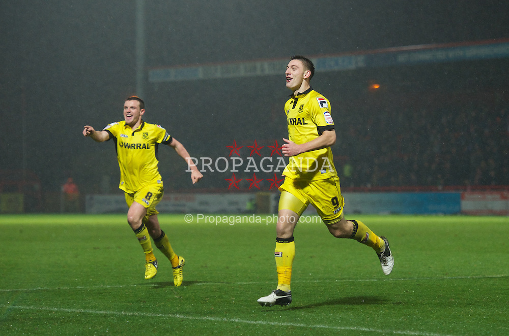 STEVENAGE, ENGLAND - Saturday, November 24, 2012: Tranmere Rovers' Jake Cassidy celebrates scoring the first goal against Stevenage during the Football League One match at Broadhall Way. (Pic by David Rawcliffe/Propaganda)