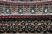CHINA, Yunnan Province, Nuodeng an old salt trading village, (near the town of Yunlong). This is the Dragon Temple built by the King of the Erhai region. Details of the interior roof.
