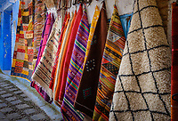 CHEFCHAOUEN, MOROCCO - CIRCA MAY 2018:  Rugs and textile products at the Medina in Chefchaouen.
