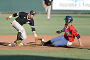 May 26, 2012: Kennesaw Owls infielder Andy Almonte (5) is not able to make the tag on Belmont Bruins infielder Jared Breen (6) steal on second base during ASUN Championship baseball game action between the Kennesaw Owls and the Belmont Bruins. Belmont defeated Kennesaw 10-4 to win their second straight ASUN Championship at Melching Field at Conrad Park in De Land, FL