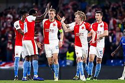 Petr Sevcik of Slavia Prague celebrates with teammates after scoring a goal to make it 4-3 - Mandatory by-line: Robbie Stephenson/JMP - 18/04/2019 - FOOTBALL - Stamford Bridge - London, England - Chelsea v Slavia Prague - UEFA Europa League Quarter Final 2nd Leg