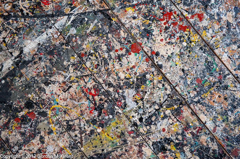 East Hampton, NY - 7/27/12 - Paint on the floor of Jackson Pollocks studio at the Pollock Krasner House Museum in East Hampton, NY July 27, 2012.    (Photo by Gordon M. Grant)