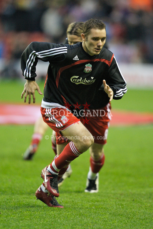 LIVERPOOL, ENGLAND - Saturday, February 2, 2008: Liverpool's Fabio Aurelio warms-up before the Premiership match against Sunderland at Anfield. (Photo by David Rawcliffe/Propaganda)