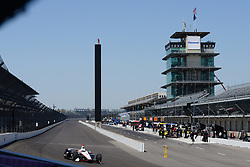 April 30, 2018 - Indianapolis, IN, U.S. - INDIANAPOLIS, IN - APRIL 30: Josef Newgarden (1) entering Turn 1 with the famous Pagoda and Scoring Pylon in the background during an Open Test on April 30, 2018, at the Indianapolis Motor Speedway in Indianapolis, IN. (Photo by James Black/Icon Sportswire) (Credit Image: © James Black/Icon SMI via ZUMA Press)