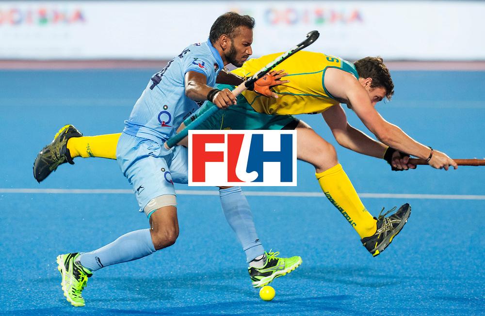 BHUBANESWAR - The Odisha Men's Hockey World League Final . Match ID 02. Australia v India. Lalit Upadhyay (Ind) with Jeremy Edwards (Aus) .WORLDSPORTPICS  COPYRIGHT  KOEN SUYK