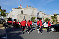 DUBLIN, REPUBLIC OF IRELAND - Friday, March 24, 2017: Wales' Hal Robson-Kanu, Neil Taylor during a pre-match team walk around Portmarnock Hotel And Golf Links ahead of the 2018 FIFA World Cup Qualifying Group D match against Republic of Ireland. (Pic by David Rawcliffe/Propaganda)