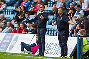 Neal Ardley, Manager of AFC Wimbledon  & Simon Bassey, First Team Coach during the EFL Sky Bet League 1 match between Gillingham and AFC Wimbledon at the MEMS Priestfield Stadium, Gillingham, England on 8 September 2018.