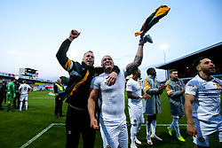 Newport County manager Michael Flynn and David Pipe of Newport County celebrate winning through to the Sky Bet League Two Playoff Final - Mandatory by-line: Robbie Stephenson/JMP - 12/05/2019 - FOOTBALL - One Call Stadium - Mansfield, England - Mansfield Town v Newport County - Sky Bet League Two Play-Off Semi-Final 2nd Leg