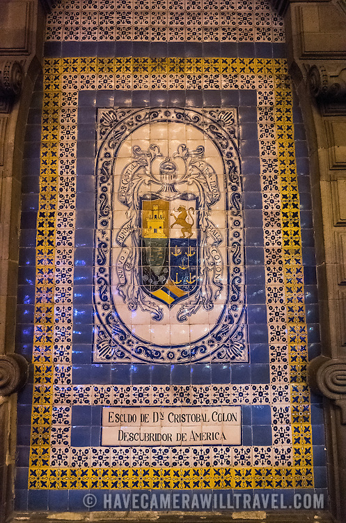 Tiles decorating one of the historic buildings on the Zocalo. Formally known as Plaza de la Constitución, the Zocalo is the historic heart of Mexico City.