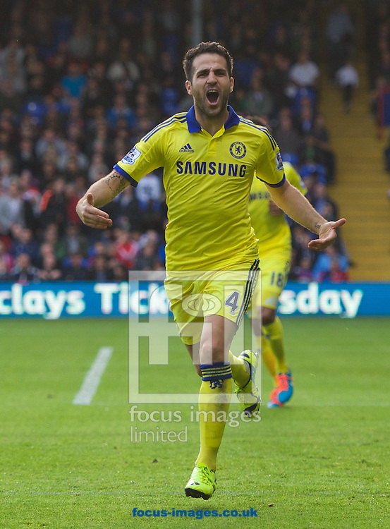 Cesc Fabregas of Chelsea celebrates after scoring the second goal to make it 0-2 during the Barclays Premier League match at Selhurst Park, London<br /> Picture by Alan Stanford/Focus Images Ltd +44 7915 056117<br /> 18/10/2014