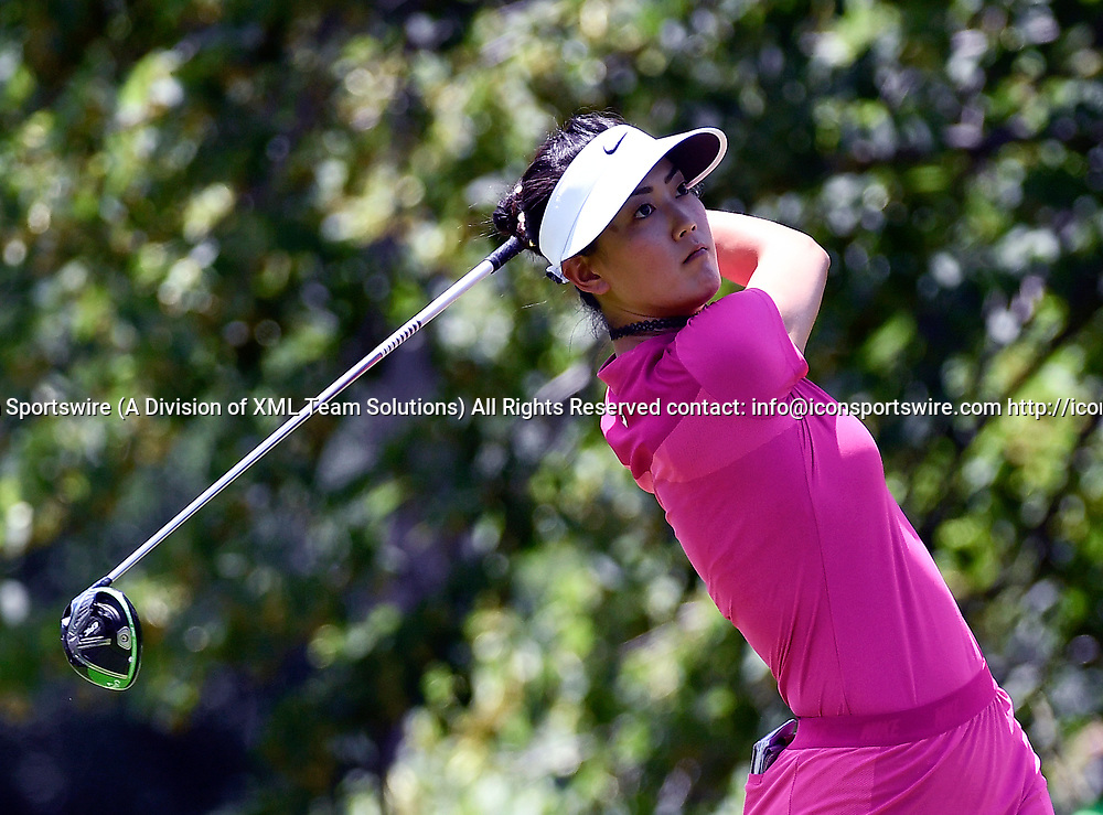 OLYMPIA FIELDS, IL - JULY 01: Michelle Wie plays the ball from the fifth tee during the third round of the 2017 KMPG PGA Championship at Olympia Fields on July 1, 2017 in Olympia Fields, Illinois. (Photo by Quinn Harris/Icon Sportswire)