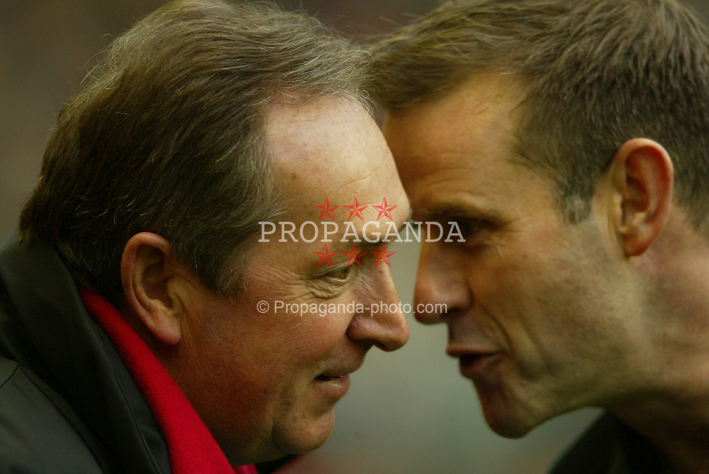LIVERPOOL, ENGLAND - Saturday, January 10, 2004: Liverpool's manager Ge?rard Houllier and referee Graham Barber pictured before the Premiership match against Aston Villa at Anfield. (Photo by David Rawcliffe/Propaganda)