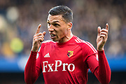 Watford (25) José Holebas make strong gesture towards  assistant referee after goal for chelsea during the Premier League match between Chelsea and Watford at Stamford Bridge, London, England on 21 October 2017. Photo by Sebastian Frej.