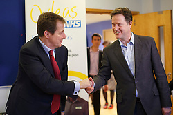 ***EMBARGO 00:01 MONDAY 20th JANUARY 2014***© licensed to London News Pictures. London, UK 16/01/2014. The Deputy Prime Minister Nick Clegg and Alistair Campbell shaking hands before meeting patients and staff of Princess Royal University Hospital's mental health unit in Kent on Thursday 16 January 2014, ahead of a major announcement and conference about the future of mental health services to be made on Monday, 20 January 2014. Photo credit: Tolga Akmen/LNP