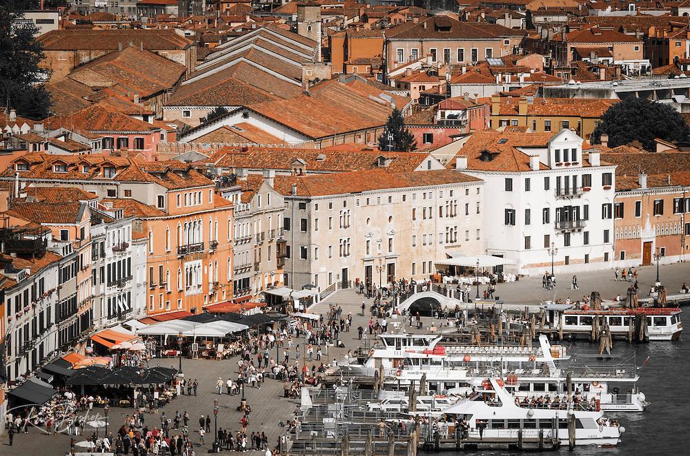 Ferry boats and tourists on the promenade, Venice, Veneto, Italy