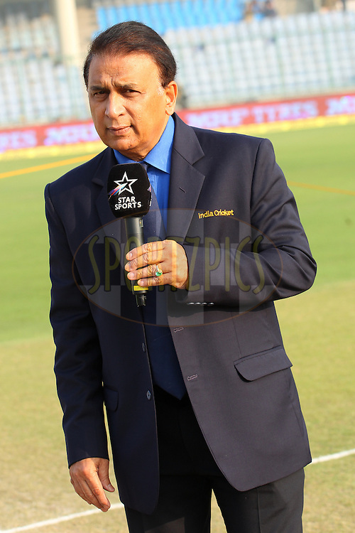Sunil Gavaskar during day two of the 4th Paytm Freedom Trophy Series Test Match between India and South Africa held at the Feroz Shah Kotla Stadium in Delhi, India on the 4th December 2015<br /> <br /> Photo by Ron Gaunt  / BCCI / SPORTZPICS