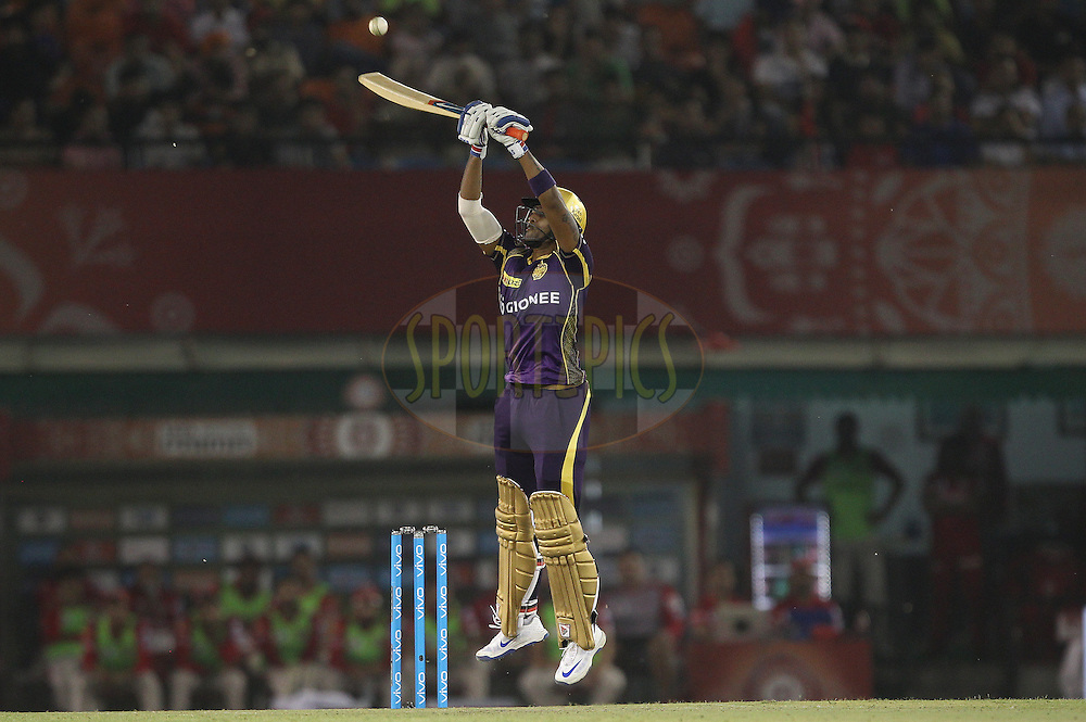 Suryakumar Yadav of Kolkata Knight Riders jumps to play the shot during match 13 of the Vivo Indian Premier League ( IPL ) 2016 between the Kings XI Punjab and the Kolkata Knight Riders held at the IS Bindra Stadium, Mohali, India on the 19th April 2016<br /> <br /> Photo by Ron Gaunt / IPL/ SPORTZPICS