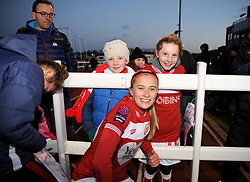 Julie Biesmans of Bristol City poses for a photo with fans - Mandatory by-line: Nizaam Jones/JMP - 27/01/2019 - FOOTBALL - Stoke Gifford Stadium - Bristol, England - Bristol City Women v Yeovil Town Ladies- FA Women's Super League 1