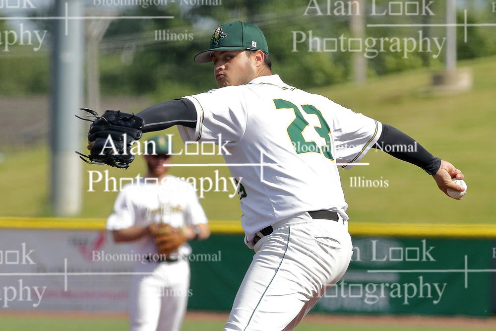 28 May 2017: Julio Vivas during a Frontier League Baseball game between the Lake Erie Crushers and the Normal CornBelters at Corn Crib Stadium on the campus of Heartland Community College in Normal Illinois