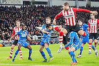EINDHOVEN - PSV - AZ , Voetbal , Seizoen 2015/2016 , Eredivisie , Philips stadion , 29-11-2015 , AZ speler Derrick Luckassen scoort een eigen doelpunt voor de 1-0 terwijl PSV speler Jeffrey Bruma (r) en PSV speler Hector Moreno (2e r) ook een poging doen