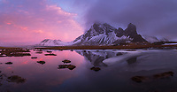 Sunrise at Hvalnes, Mount Eystrahorn in background. East Iceland.