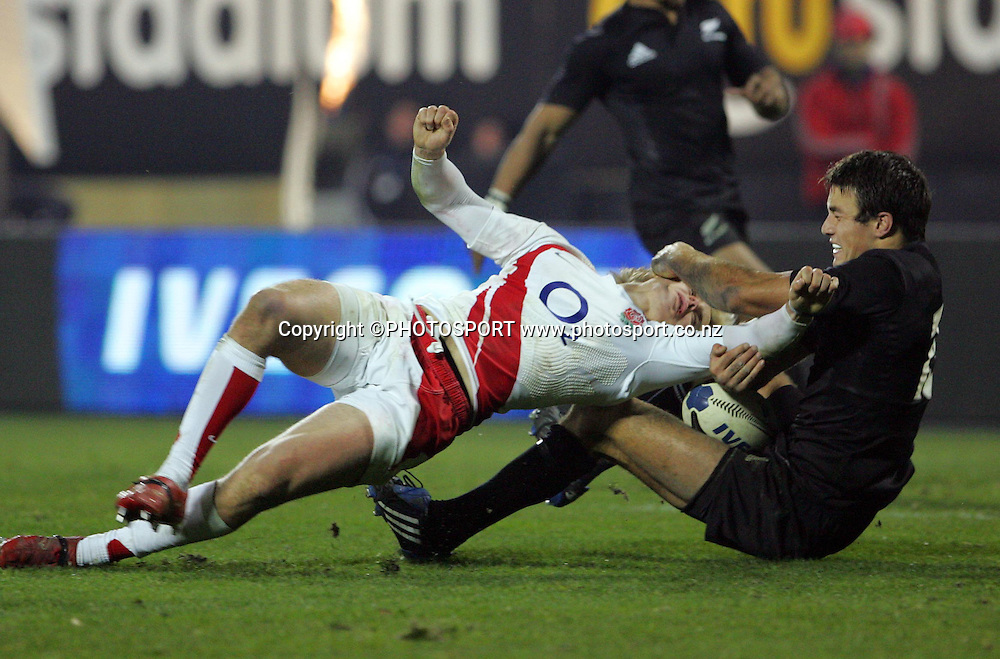 England fullback Mathew Tait is tackled to the ground by Richard Kahui.<br />