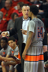 17 December 2014: Heath Schroyer and Deville Smith have a sideline discussion during an NCAA Men's Basketball game between the Skyhawks of University of Tennessee - Martin and the Redbirds of Illinois State at Redbird Arena in Normal Illinois
