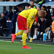 Matej Vydra injury during the Sky Bet Championship match between Millwall and Watford at The Den, London, England on 11 April 2015. Photo by Matthew Redman.