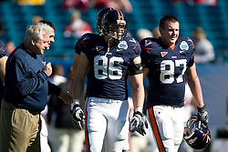 Virginia tight end Tom Santi (86) before the Gator Bowl.  The Texas Tech Red Raiders defeated the Virginia Cavaliers 31-28 in the 2008 Konica Menolta Gator Bowl held at the Jacksonville Municipal Stadium in Jacksonville, FL on January 1, 2008.