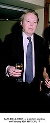 EARL DE LA WARR  at a party in London on February 13th 1997.LWL 17