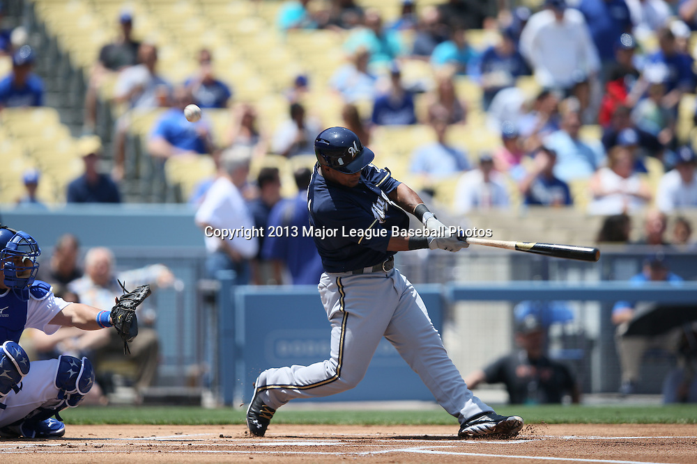 LOS ANGELES, CA - APRIL 28:  Jean Segura #9 of the Milwaukee Brewers bats during the game against the Los Angeles Dodgers on Sunday, April 28, 2013 at Dodger Stadium in Los Angeles, California. The Dodgers won the game 2-0. (Photo by Paul Spinelli/MLB Photos via Getty Images) *** Local Caption *** Jean Segura