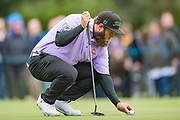 Andrew 'Beef' Johnston of England place the ball during the British Masters 2018 at Walton Heath Golf Course, Walton On the Hill, Surrey  on 11 October 2018. Picture by Martin Cole.