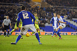 Birmingham City's Oliver Lee takes a shot at goal. - Photo mandatory by-line: Dougie Allward/JMP - Tel: Mobile: 07966 386802 18/01/2014 - SPORT - FOOTBALL - St Andrew's Stadium - Birmingham - Birmingham City v Yeovil Town - Sky Bet Championship