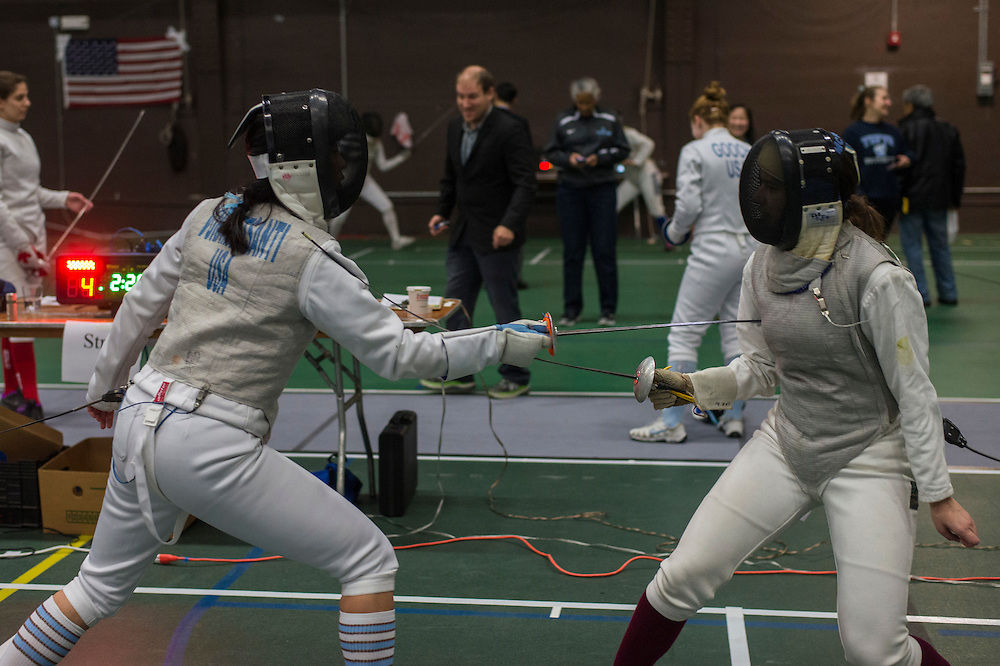 2/11/17 - Medford/Somerville, MA - First-year Andrea Vorametsanti, foil, fights ina match against B.U. at the Tufts Multi-Meet in Cousens Gym on Feb 11, 2017. (Ray Bernoff / The Tufts Daily)