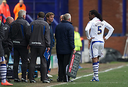 BIRKENHEAD, ENGLAND - Saturday, April 21, 2012: Tranmere Rovers' Ian Goodison waits to find out of he's been sent off against Hartlepool United during the Football League One match at Prenton Park. (Pic by David Rawcliffe/Propaganda)
