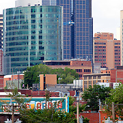Downtown Kansas City skyline close up with H&R Block headquarters