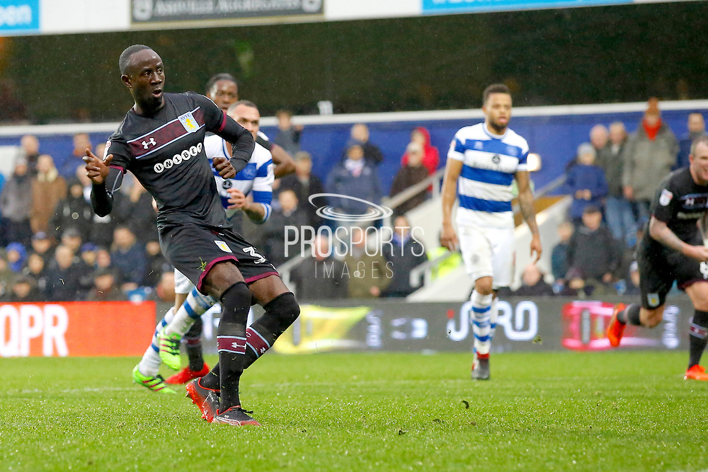 Aston Villa midfielder Albert Adomah (37) takes a penalty and scores (score 1-1) during the EFL Sky Bet Championship match between Queens Park Rangers and Aston Villa at the Loftus Road Stadium, London, England on 18 November 2017. Photo by Andy Walter.