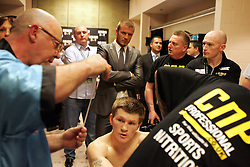 David Beckham visits Ricky Hatton in his changing room prior to his 10th round defeat to Floyd Mayweather. MGM Grand, Las Vegas, Nevada, 8th December 2007.