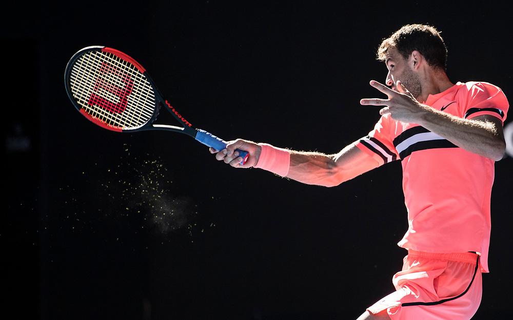 Grigor Dimitrov of Bulgaria on day nine of the 2018 Australian Open in Melbourne Australia on Tuesday January 23, 2018.<br /> (Ben Solomon/Tennis Australia)