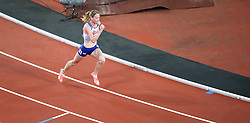 London, August 10 2017 . Eilidh Doyle, Great Britain, starts the women's 400m hurdles final on day seven of the IAAF London 2017 world Championships at the London Stadium. © Paul Davey.