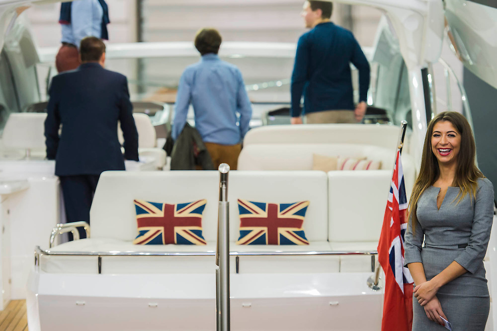 The Sunseeker stand and Champagne bar. The CWM FX London Boat Show, taking place 09-18 January 2015 at the ExCel Centre, Docklands, London. 09 Jan 2015.