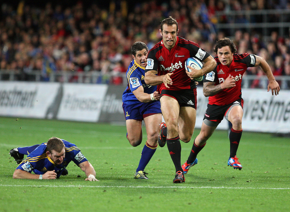Crusader's Adam Whitelock makes a break against the Highlanders in the Super 15 rugby match at Forsyth Barr Stadium, Dunedin, New Zealand, Saturday, March 03, 2012. Credit:SNPA / Dianne Manson
