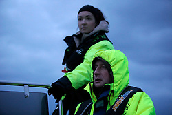 NORWAY ANDENES 8DEC15 - French whale researcher Eve Jourdain and Greenpeace campaigner Christian Bussau of Germany during a boat trip off the coast of Andenes, Norway.<br /> <br /> jre/Photo by Jiri Rezac / Greenpeace<br /> <br /> © Jiri Rezac 2015