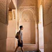 Inside the Nasrid Palaces in Granada, Spain.<br />