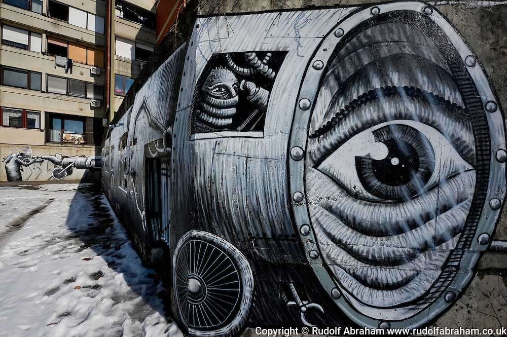 Street art in Dugave, Zagreb, Croatia. Mural by UK street artist Phlegm.