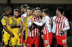 Stevenage and Bristol Rovers players clash at full time - Mandatory by-line: Robbie Stephenson/JMP - 19/04/2016 - FOOTBALL - Lamex Stadium - Stevenage, England - Stevenage v Bristol Rovers - Sky Bet League Two